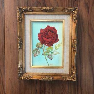 Vintage Rose Oil Painting in Gold Carved Frame